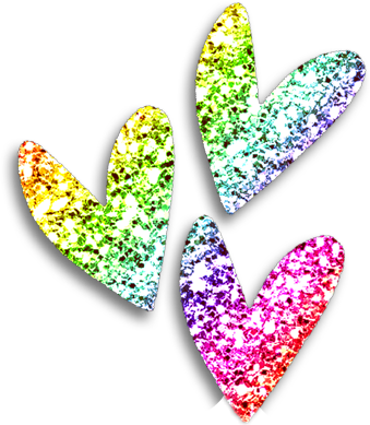 rainbow glitter hearts - Sticker by angie nelson