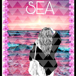freetoedit sea#summer#girl#coolgirl#tumblr#bright#brightness#colourful#color#colorfully like#remix#remixed#pink sea summer