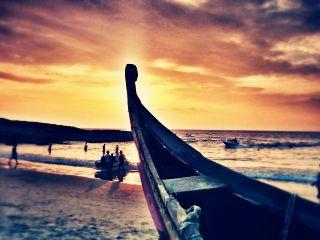 sunset boat beach seaside sea