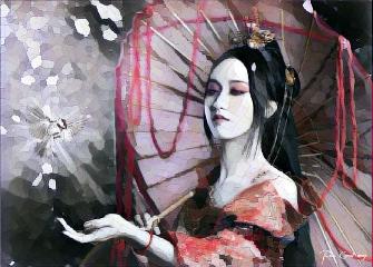 oriental woman girl emotions effect