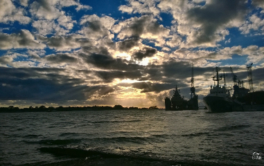 hdr sea panorama clouds sunset