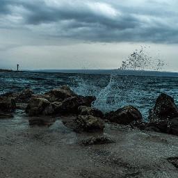 sea waves clouds