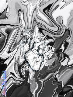 glitch heart blackandwhite transform warptool freetoedit