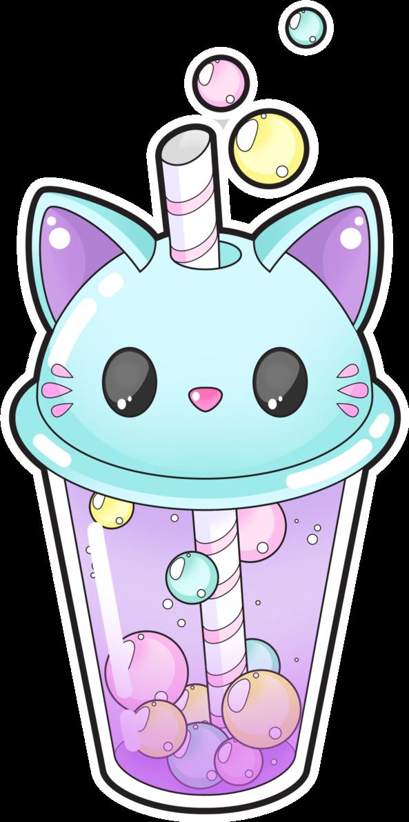 #cat #kitty #cup #drink #bubbletea #kawaii #chibi #bubbles