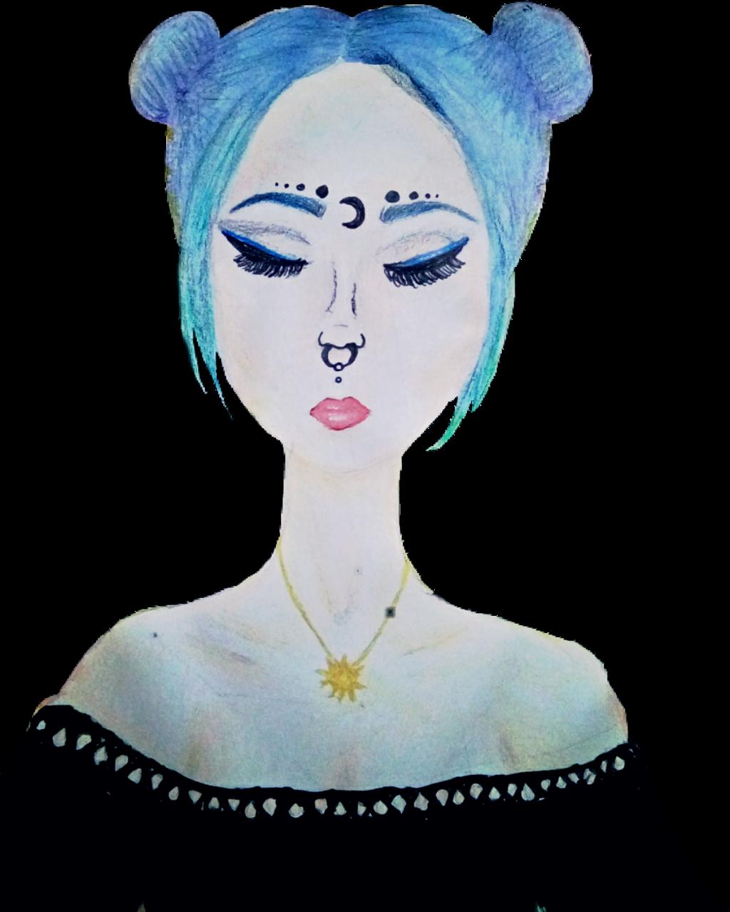 #tumblrgirl #tumblr #girl #drawing #pencilart #art #bluehair #moon
