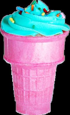 pink blue frosting sprinkles cupcake