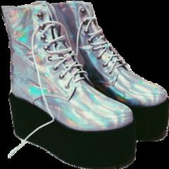 silver shiny vinyl shoes platforms