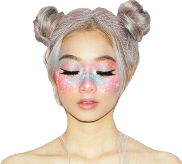 Last sticker of the day, good night dearies! #freesticker #freestickers #galaxy #galaxygirl #galaxymakeup #bunshair #closedeyes #starmakeover #makeup #stars