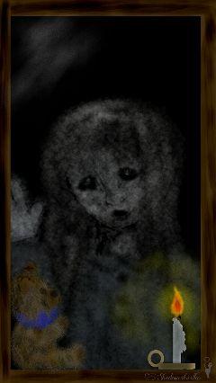 girl teddybear night dark daughter