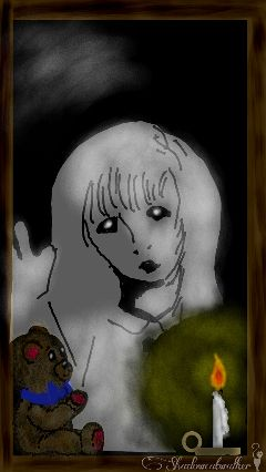 wdpghost ghost girl teddybear candle