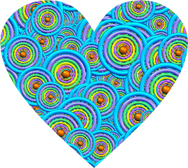 shapes heart colorful pattern blue