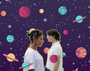 cosmic galaxy planets aliens girls