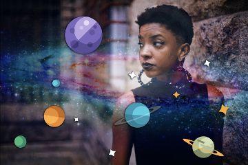 planets girl universe sky galaxy