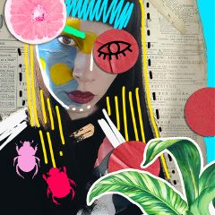 maria collage cutout newspaper plant