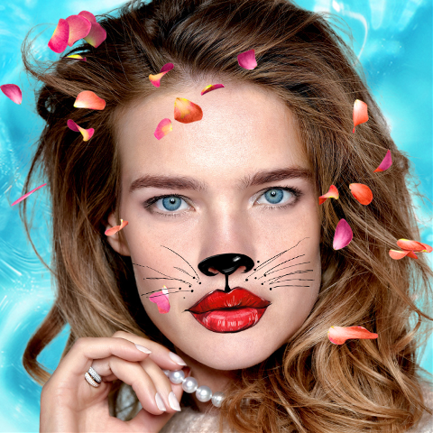 Vodianova cat makeup photo edit