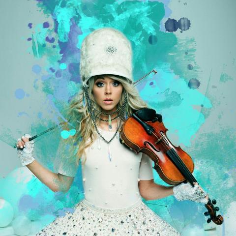 Lindsey Stirling with violin & blue color