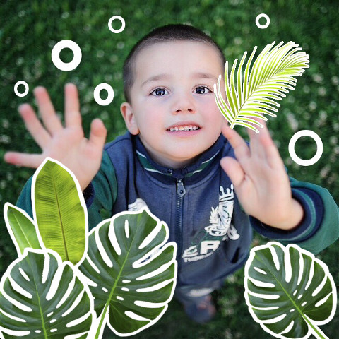 Boy pic edit with tropical plants