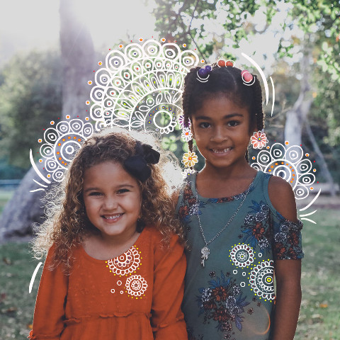 Cute kids outlined photo edit